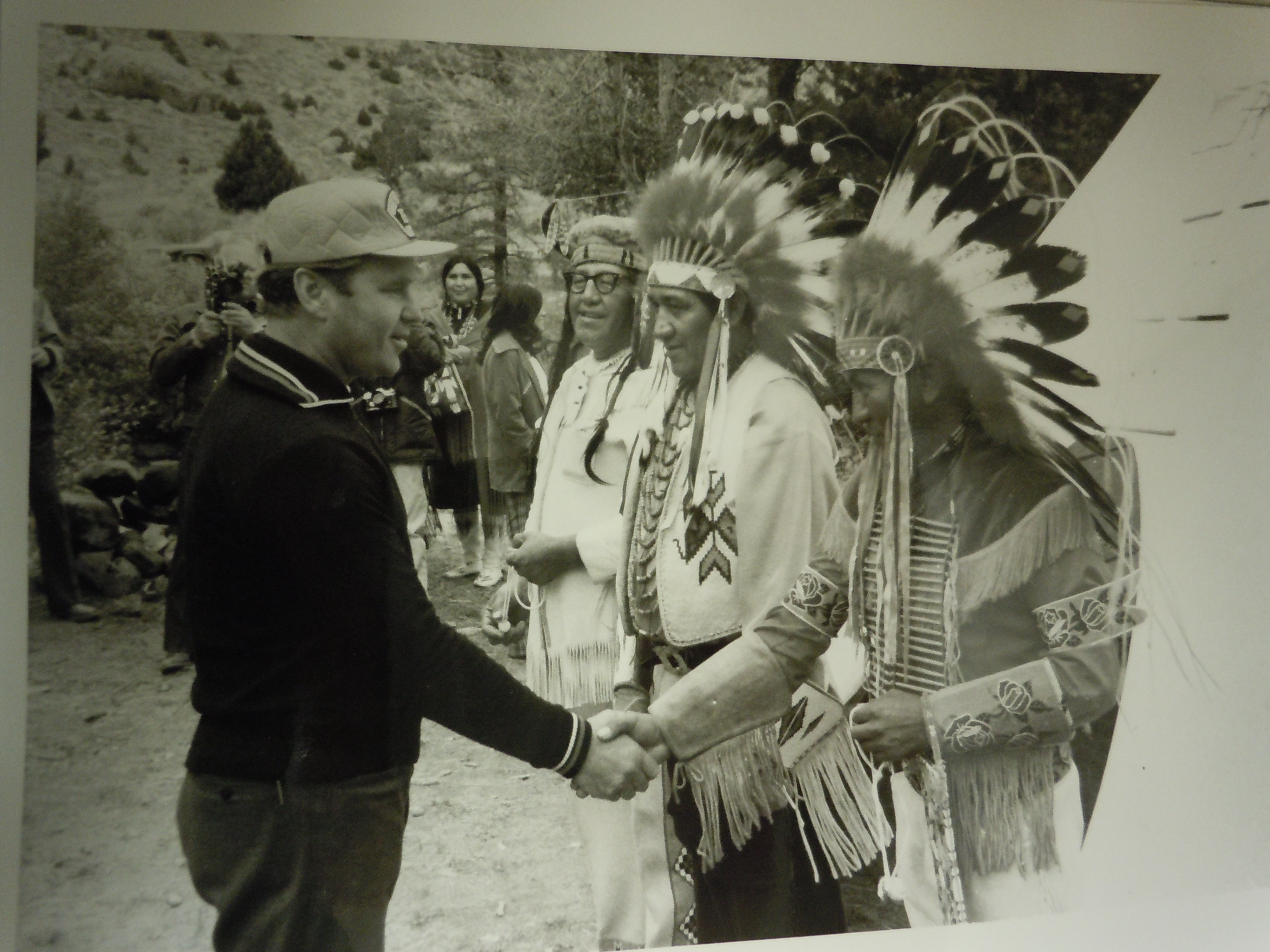 The Soviet cosmonaut and head of Cosmonaut training, Vladimir Shatalov (1927-), greeting Shoshone tribal leaders in Wyoming in September 1974.