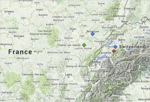 Places in France and Switzerland mentioned in Tinguely's documents (map from maps.google.com)