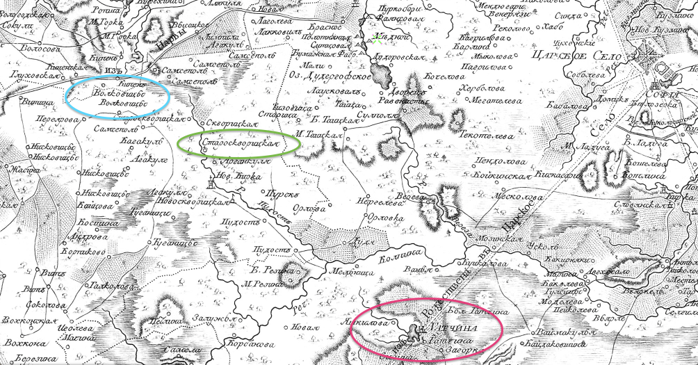Alexander Wilbrecht, Karta okruzhnosti Sanktpeterburga 1810 goda; detail from a zoomable version at