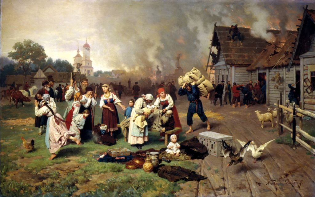 Oil painting of peasants fleeing a burning village